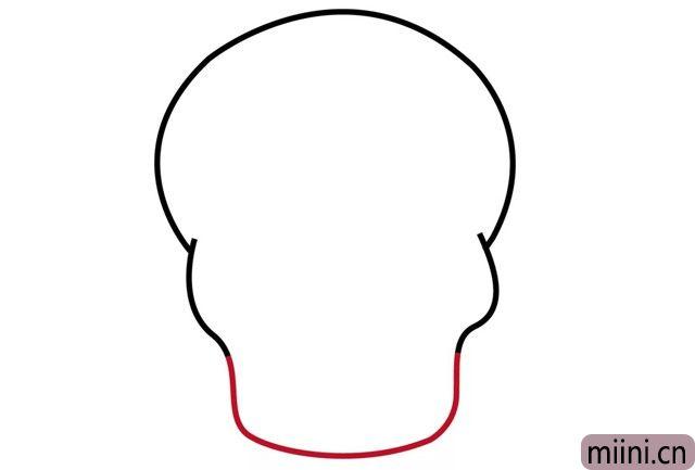 3.画下颚(e)的轮廓(kuo)