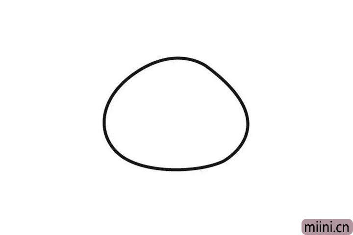 1.首先画一个石头形状。