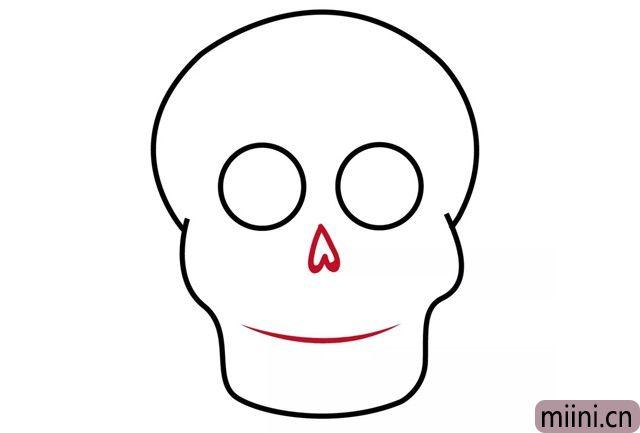 5.画鼻子和嘴,鼻子像个倒过来的爱心~