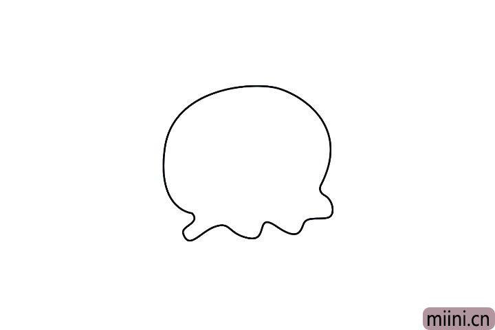 1.画水母的头部轮廓。