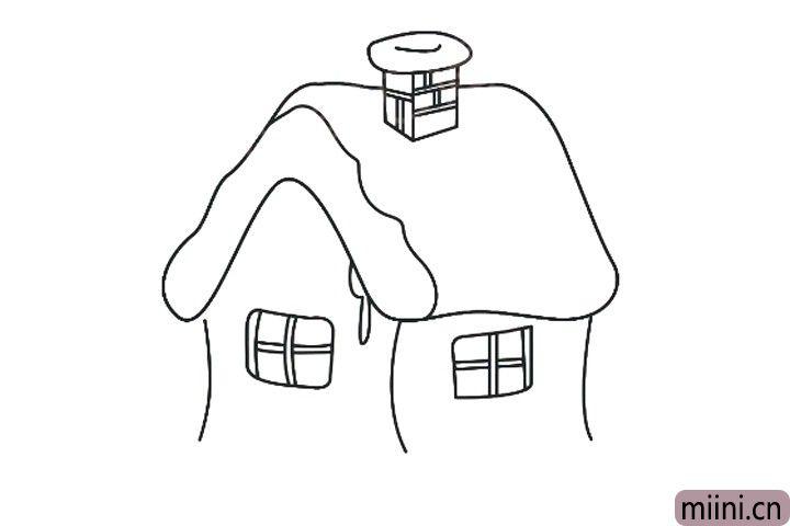 5.画出房子的窗户。