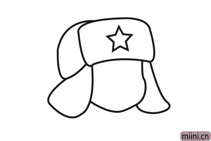 3.先画脸的轮廓再画另一边帽耳。