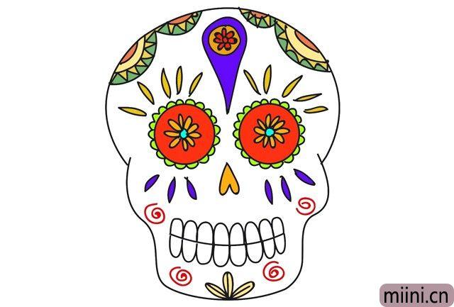 寻梦环游记里的骷髅头简笔画步骤教程