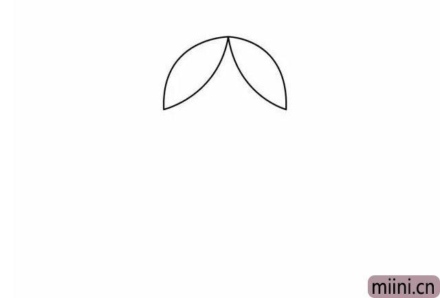 1.小朋友们,先画小红帽的刘海,这个就好像两片叶子。