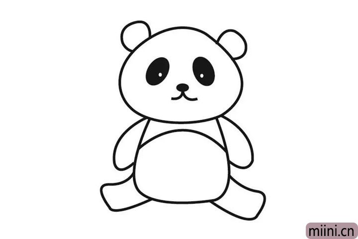 6.画上熊猫的大腿,下一步上色,就大功告成了哟