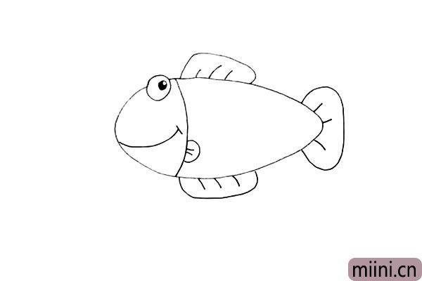 第七步.接着画出它的尾巴.尾巴呈一个扇形。