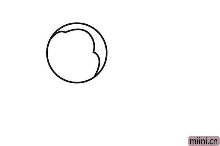 1.先画一个圆圈,勾勒蜜蜂的轮廓。