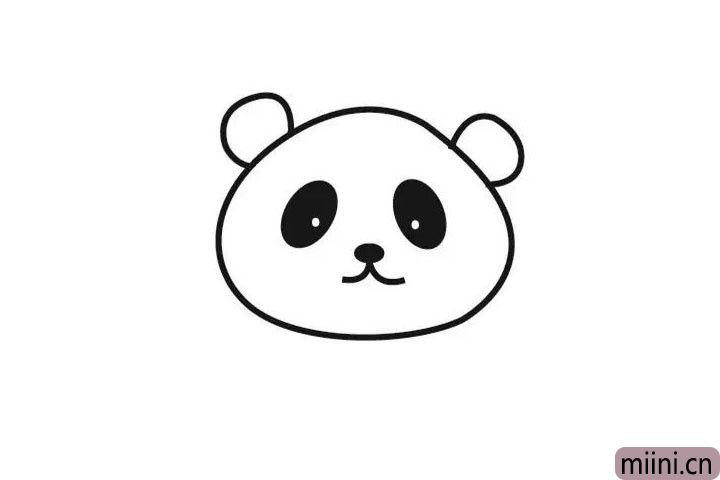 3.将熊猫的眼睛鼻子嘴巴也都画上哦~