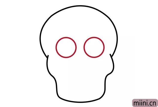 4.在中间画两个圆圈,就是眼部轮廓
