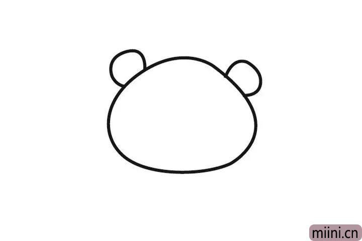 2.在再形状上画上两只小耳朵。