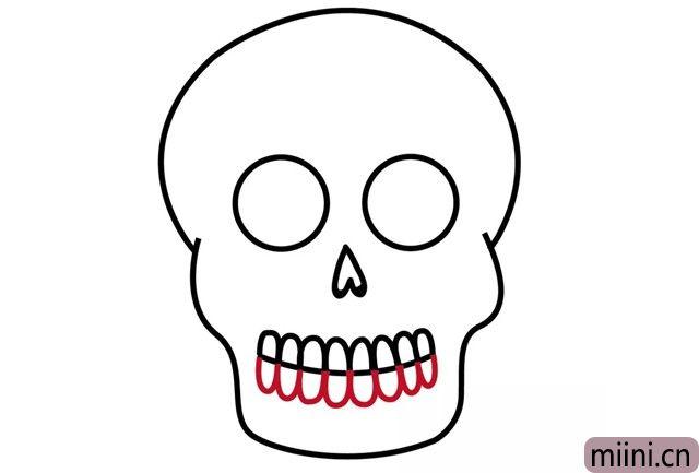 7.还有下面的牙齿,这样就完成了骷髅头。