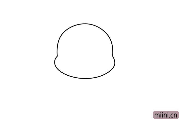 1.先画出小猪的头部轮廓。