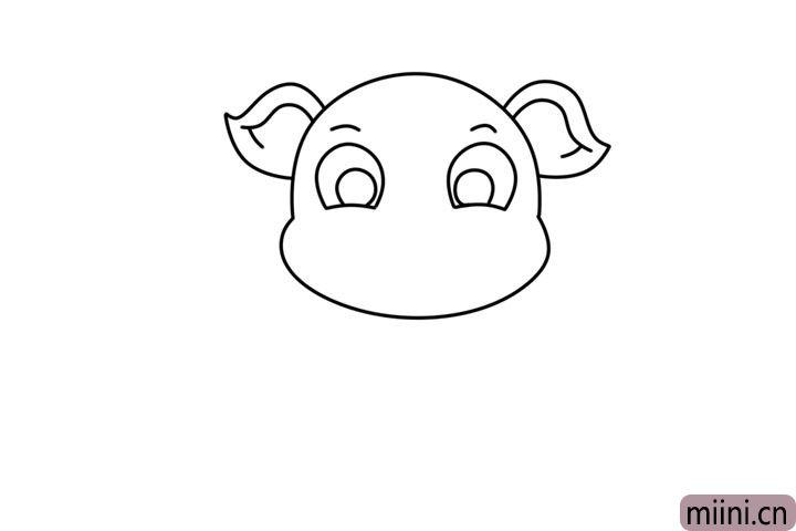 2.再画小猪的两只大耳朵和眼睛轮廓。