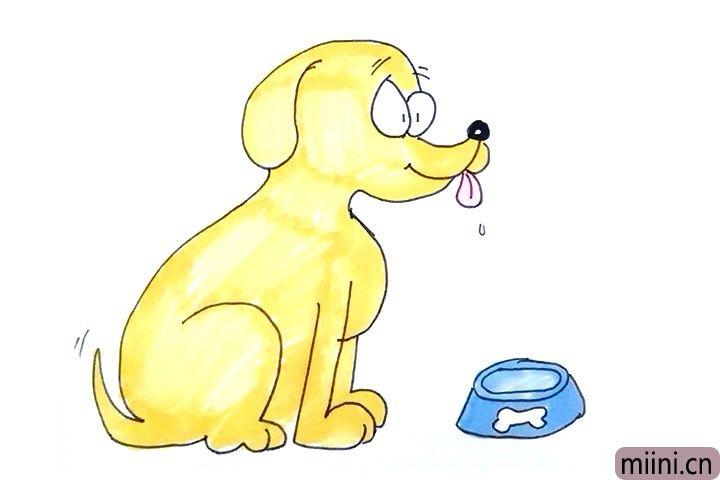 13.最后就是涂上喜欢的颜色, 好了,一幅小狗的简笔画就完成了。