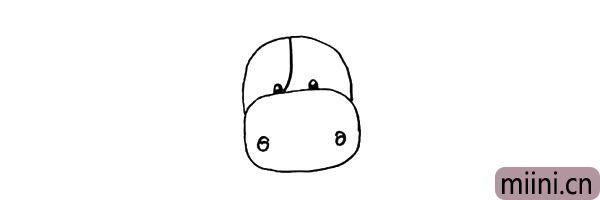 """第五步:在它鼻子的两边画上它的鼻孔.像一对正反数字""""6""""。"""