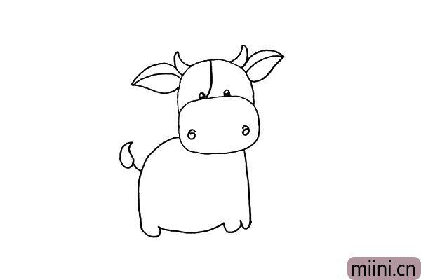 第十步:身子的后面画出它的牛尾巴。