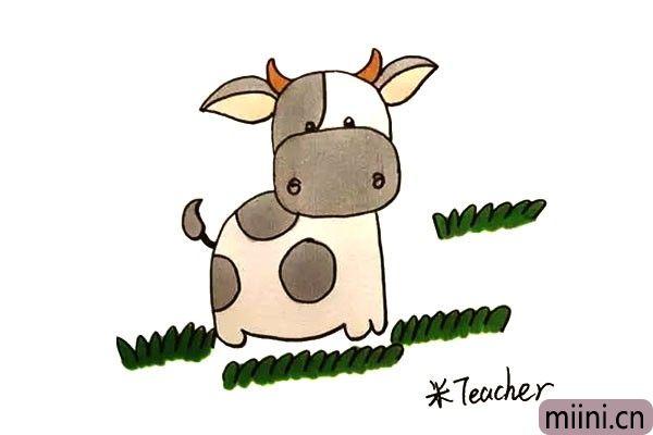 第十三步:最后我们给画好的小花牛涂上漂亮的颜色吧。