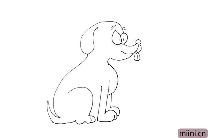 11.画出完整的后腿和尾巴, 这样坐着的小狗就画好了。