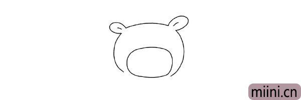 2.接着画大大的猪鼻子轮廓。
