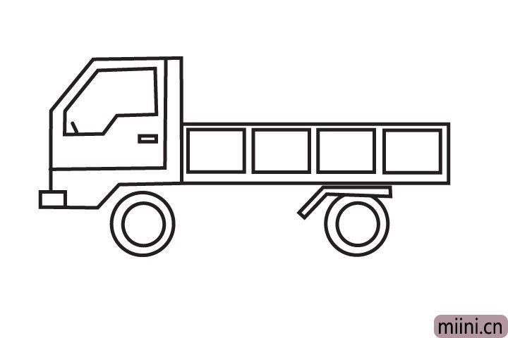 5.然后画出货车的轮子。
