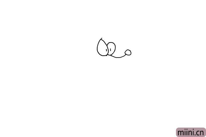 3.画出小狗的长鼻子, 注意长度。