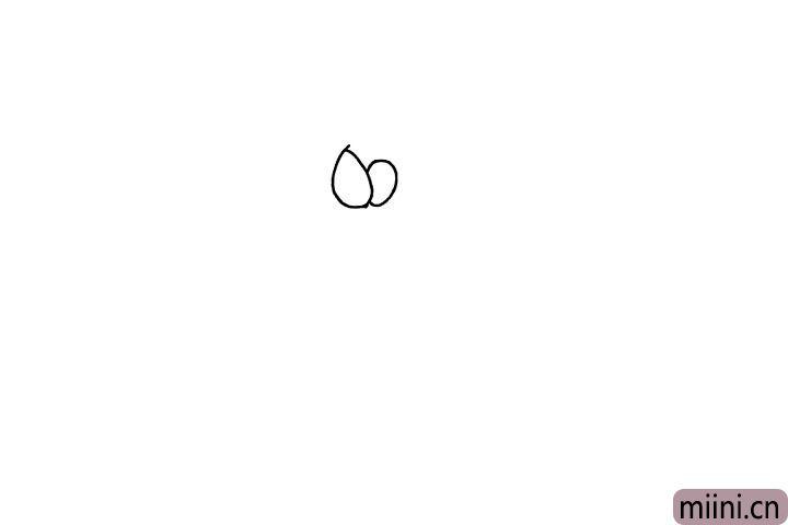 1.首先我们需要画出小狗的眼睛, 画两个小一点的圆圈。