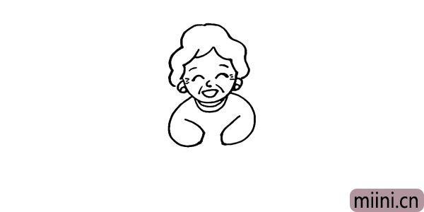 第七步:向下画出奶奶的手臂。