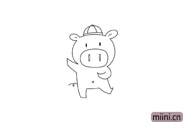 6.给小猪画上一顶帽子更加可爱。