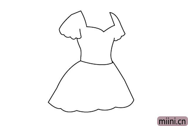 4.画出第一层裙摆。