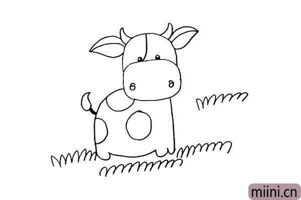 第十二步:四周画上一些青草.小花牛最爱吃青草了。