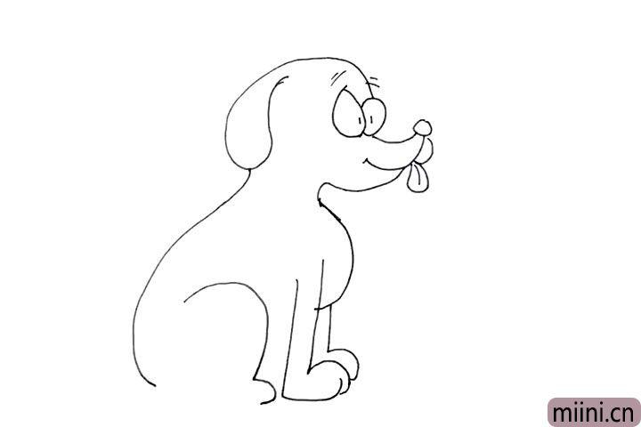 10.画一个大的弧形作为后腿, 因为小狗是坐着的。