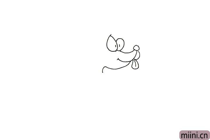 5.接着画出小狗的下巴和脖子。