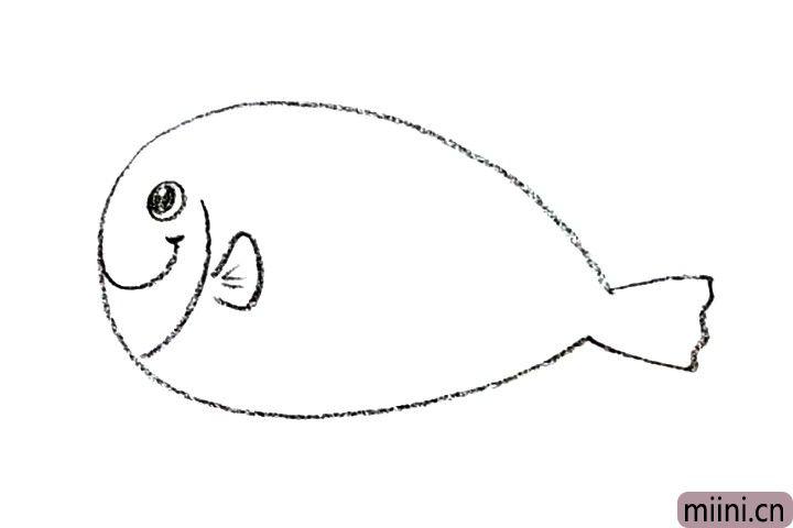 2.画出它的眼睛、嘴巴和鱼鳍。