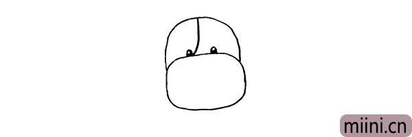 第四步:头部中间画一条线条连接到鼻子.注意线条的变化。