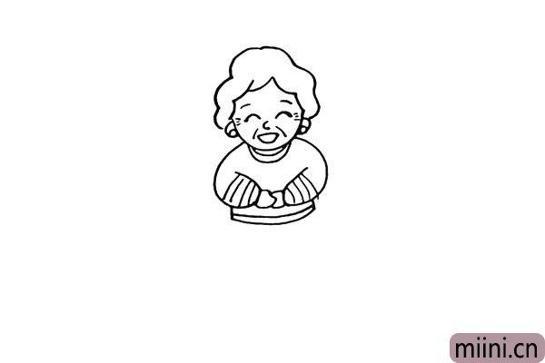 第九步:我们在奶奶的衣服上画上花纹。