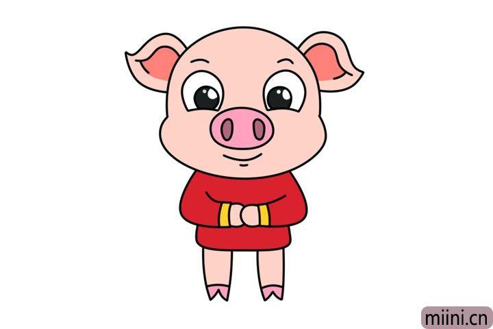 可爱的小猪拜年简笔画步骤教程