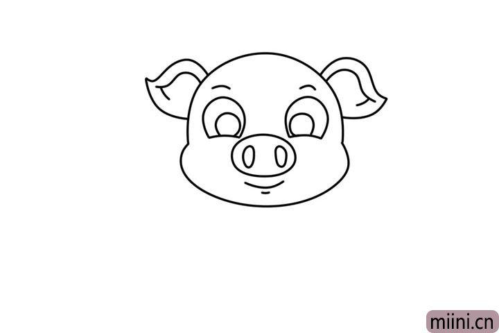 3.接着画出它的大鼻子和嘴巴。