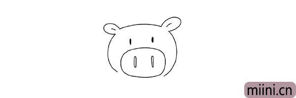 3.然后画出眼睛和鼻孔。