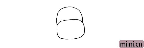 第二步:在鼻子的上面画出一个半圆.这是它的头部。