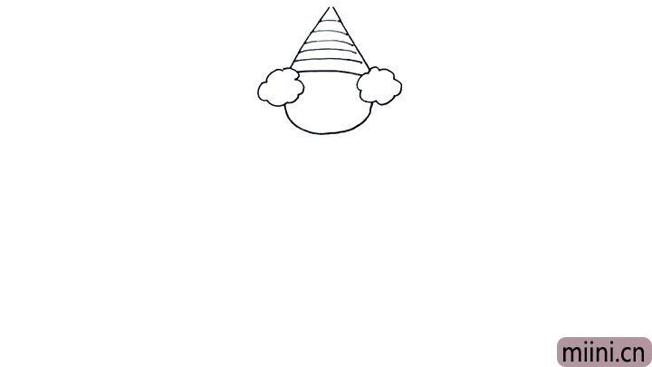 4.然后我们在帽子上纹理, 很简单哟,只要画上几条横线就可以了, 当然小朋友们也可以画其他东西, 比如小动物,字母等等。