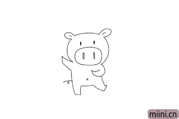 5.画小猪的肚脐和尾巴。