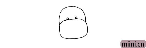第三步:鼻子的上方画两颗小小的眼睛.留出高光。