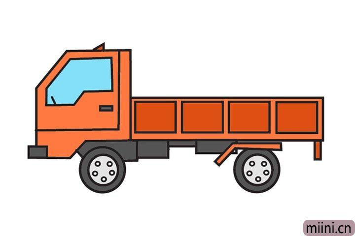 可以拉很多货物的货车简笔画步骤教程
