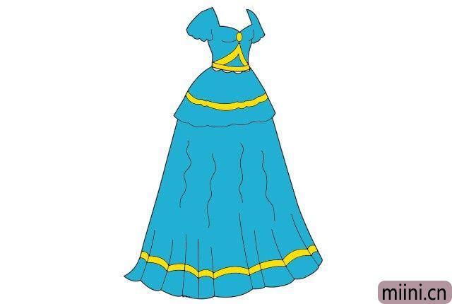 7.最后给裙子填上漂流的颜色。