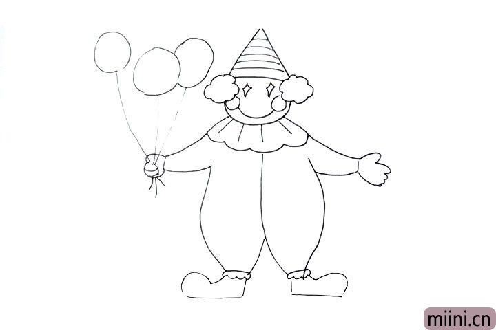 11.在手上画上气球, 画两三个气球表示一下就可以。