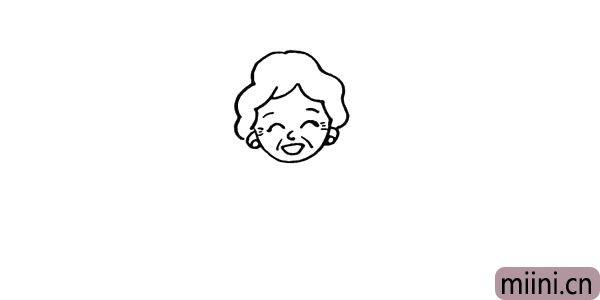 第六步:用线条勾勒出奶奶的头发形状。