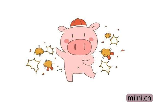 7.在小猪的周围画出爆炸的炮仗,并涂上颜色。