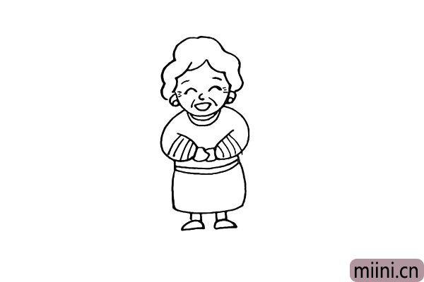 第十一步:然后画出奶奶的鞋子。