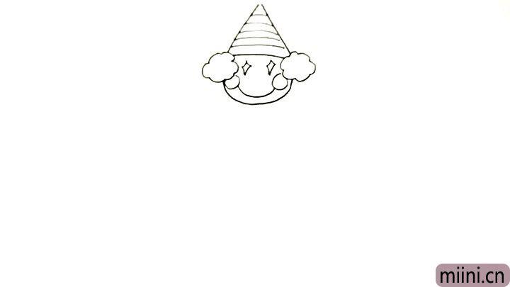 6.然后是腮红和嘴巴, 这两点也是小丑的标志, 大家都记住了吗?
