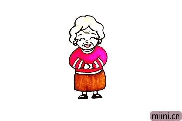 第十二步:最后就可以给奶奶涂上颜色了。